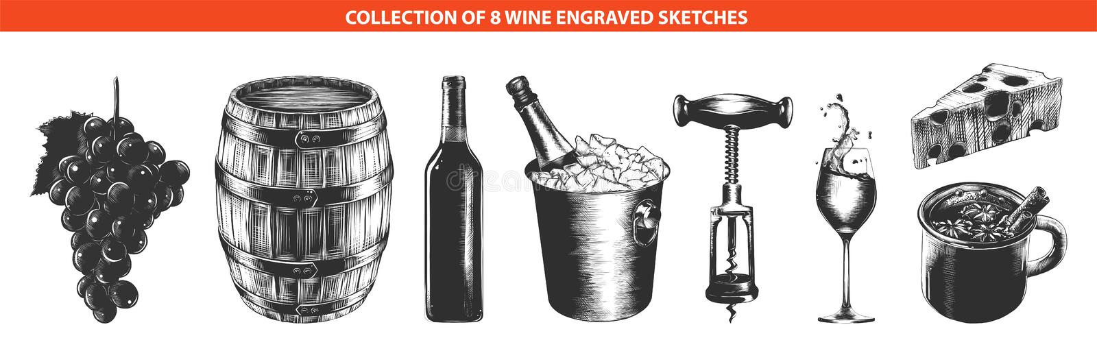 Hand drawn sketches of in monochrome isolated on white background. Detailed vintage woodcut style drawing. Vector engraved style wine list or menu collection for stock illustration