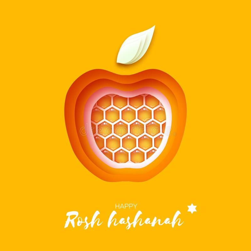 Vector engraving illustration of honey bee on white background. Jewish New Year, Rosh Hashanah. Apple shape with honey gold cell in paper cut style. Origami royalty free illustration