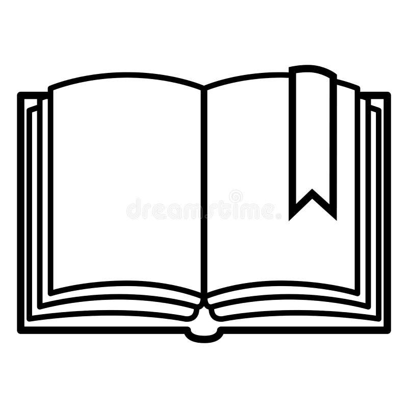 Vector Enig Zwart Overzichtspictogram - Open Leeg Boek met Referentie vector illustratie