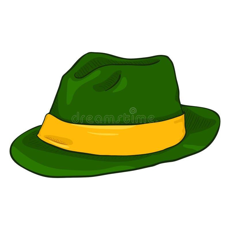 Vector Enige Beeldverhaal Ierse Kleur Fedora Hat vector illustratie