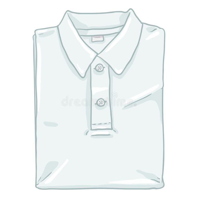 Vector Enige Beeldverhaalillustratie - Gevouwen Wit Polo Shirt vector illustratie