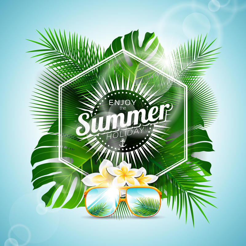 Vector Enjoy the Summer Holiday typographic illustration with tropical plants and flowers on light blue background. royalty free illustration