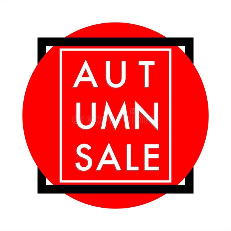 Vector enmarcado círculo rojo de la bandera de la venta del otoño stock de ilustración