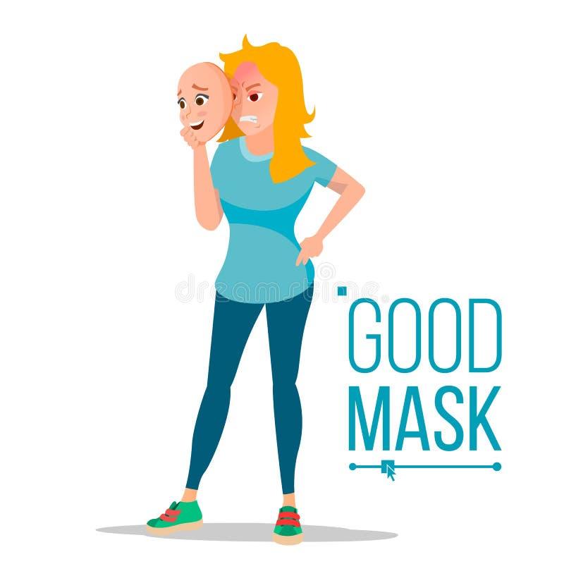 Vector enojado de la máscara del desgaste de mujer buen Malo, hembra cansada Persona falsa Engañe el concepto Negocio plano aisla ilustración del vector