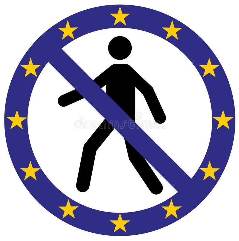 Vector entrada humana o ícone proibido do símbolo em cores da bandeira da União Europeia Imagem conceptual Os governos e povos da ilustração do vetor
