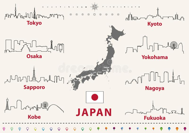 Vector Entwurfsikonen von Japan-Stadtskylinen mit japanischer Flagge und Karte stock abbildung