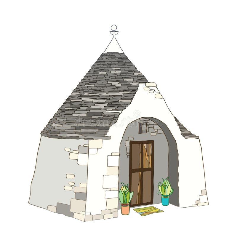 Vector Entwurfszeichnung von Haus Trulli oder Trullo mit dem runden konischen Dach in den Pastellfarben lokalisiert auf weißem Hi lizenzfreie abbildung