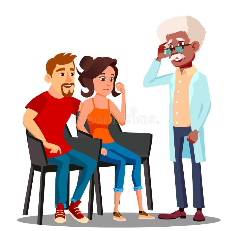 Vector envejecido Talking To Middle de los pares del psicólogo de la familia Ilustración aislada stock de ilustración