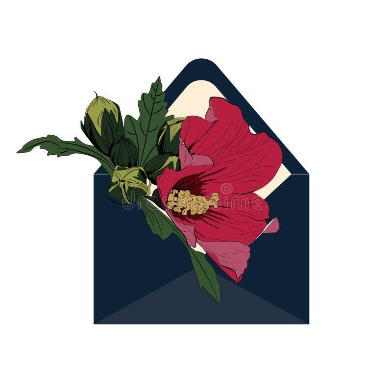 Vector Envelop Anemoonbloemen Document besnoeiingsart. Inschrijving April spoedig royalty-vrije illustratie