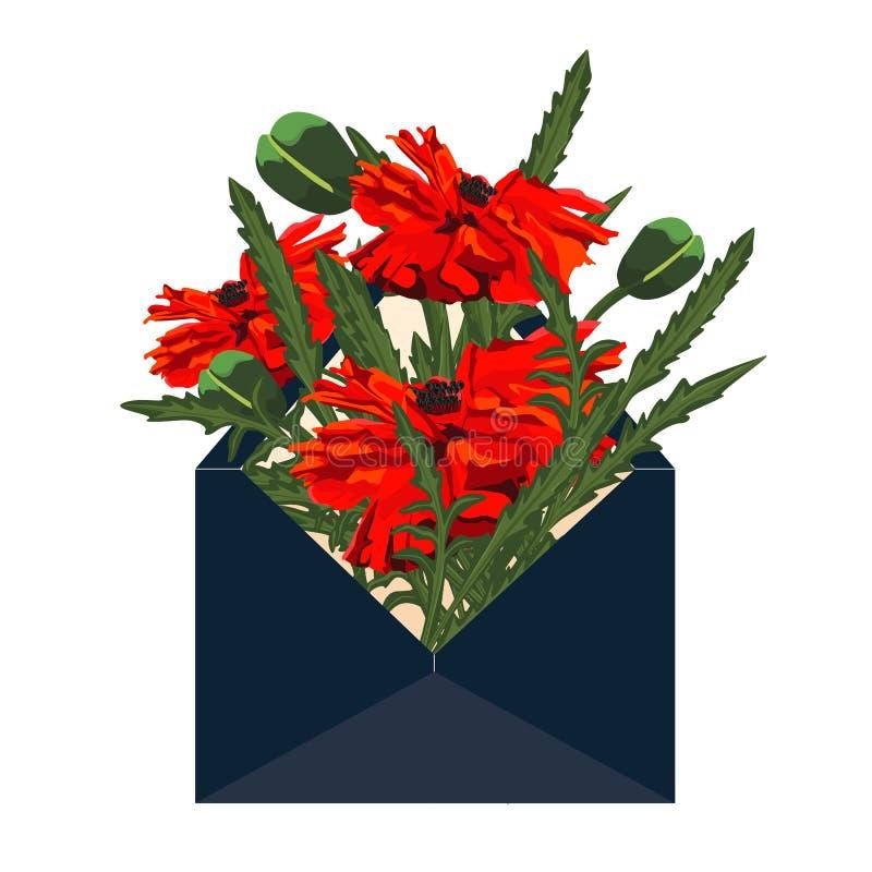 Vector Envelop Anemoonbloemen Document besnoeiingsart. Inschrijving April spoedig stock illustratie