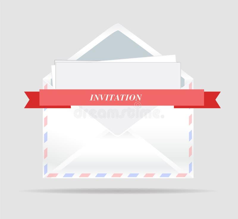Vector Envelop Geopende envelop met uitnodigingskaart en rood lint royalty-vrije illustratie