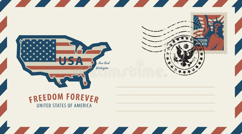 Envelope with map of America in colors of flag stock illustration