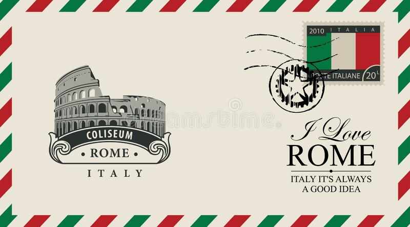 Vector envelope or postcard with Roman Coliseum. Vector envelope or postcard in retro style with Roman Coliseum, postmark and postage stamp with Italian flag stock illustration