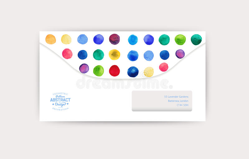 Vector Envelope Template. Watercolor Circles Decor. Corporate ...