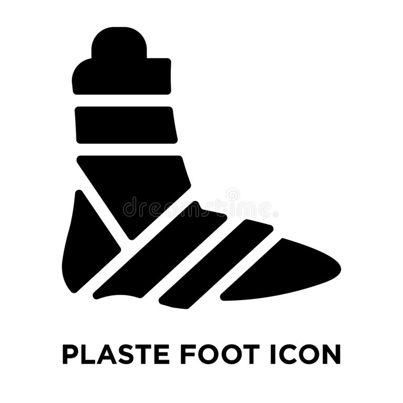 Vector enyesado del icono del pie aislado en el fondo blanco, logotipo co stock de ilustración