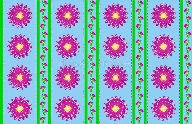 Download Vector Eps 10 Blue Wallpaper With Pink Flowers Royalty Free Stock Photography - Image: 14888287