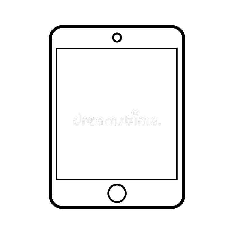 Vector eps10 de la tableta del esquema Icono del estilo del ipad del esquema de la tableta ilustración del vector