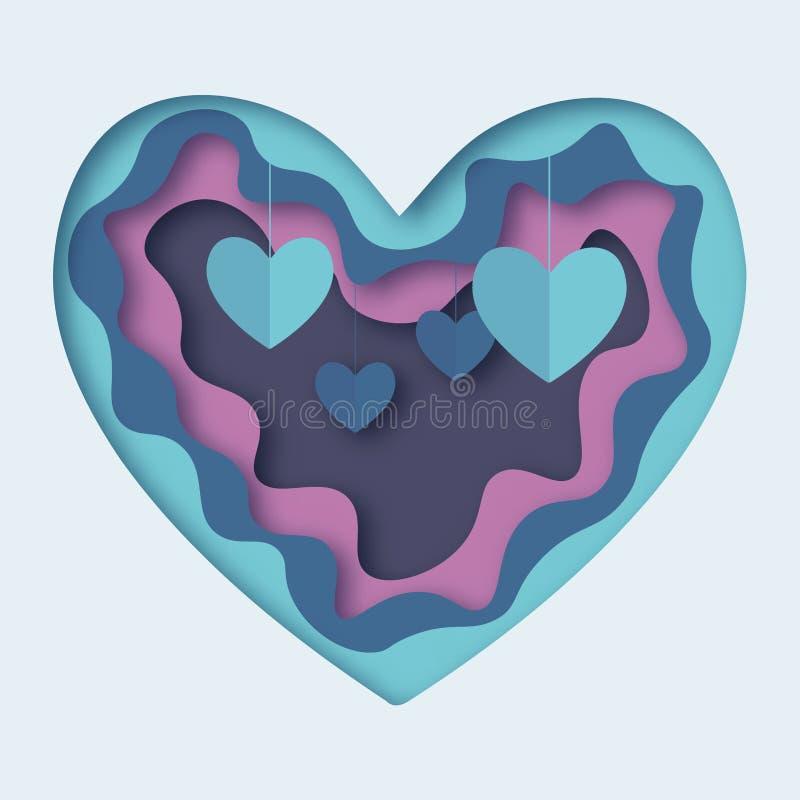 Vector EPS 10 del corte del papel del extracto del amor stock de ilustración