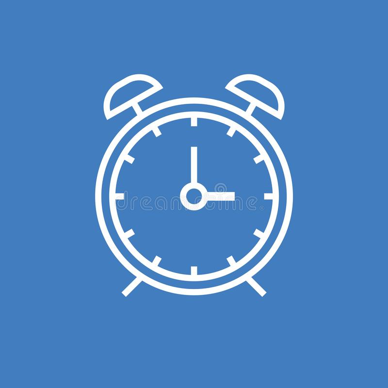 Vector eps10 del esquema del despertador Icono del tiempo Esquema blanco del despertador en icono azul del fondo ilustración del vector