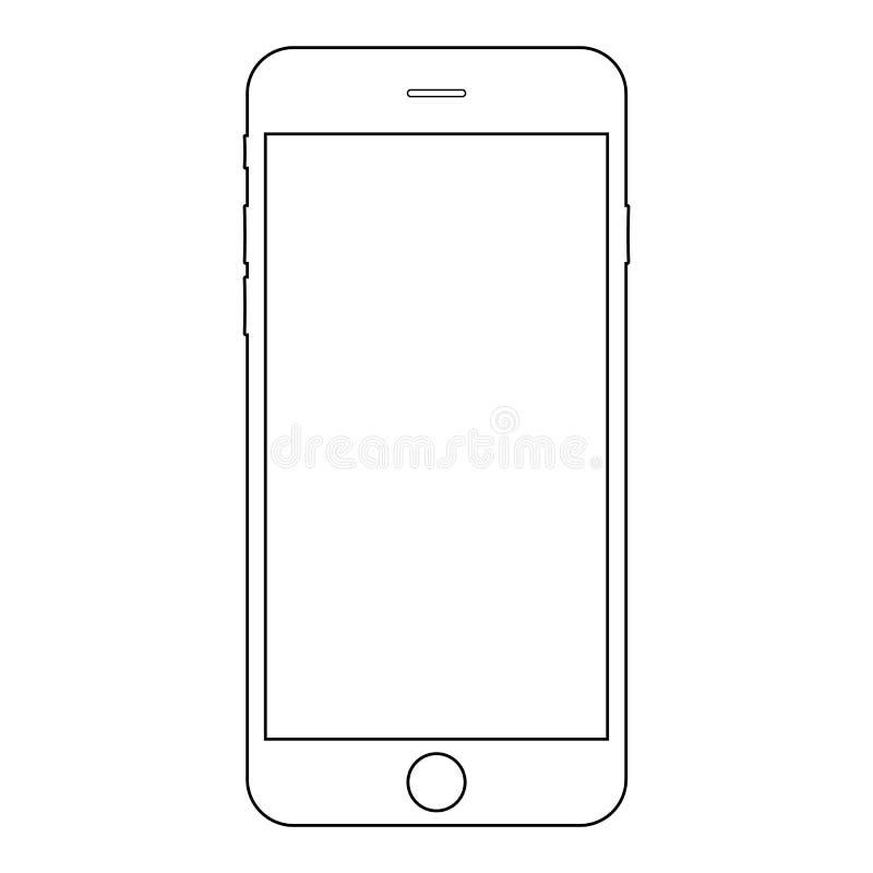Vector eps10 del esquema del iphone de Smartphone Icono del teléfono móvil de Iphone Vector eps10 del esquema de Smartphone ilustración del vector