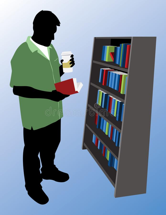 Man in a Green Shirt Reading a Book while Holding a Hot Beverage Cartoon Vector Graphic Illustration. Vector eps file of a man wearing a green shirt and holding vector illustration