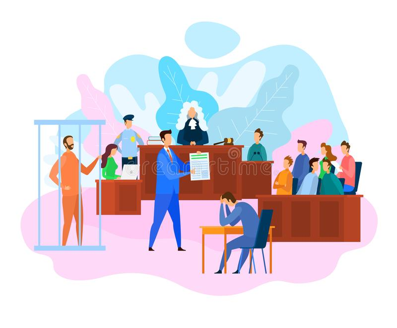 Hearing Court Decision in Courtroom Criminal Law. Vector EPS 10 of Hearing in Courtroom. Judge, Witnesses and Jury. Attorney While Litigation. Court Decision vector illustration