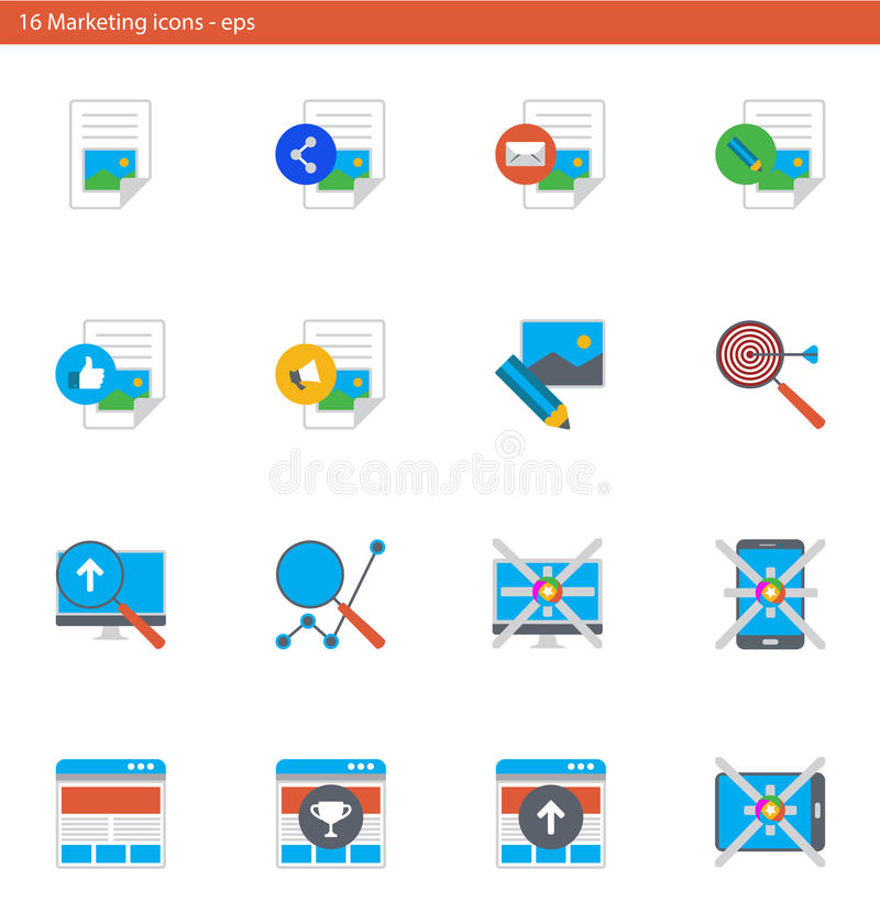 Vector eps icons set - marketing and advertising in material design style royalty free illustration