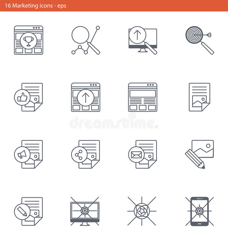 Vector eps icons set - marketing and advertising in outline style vector illustration