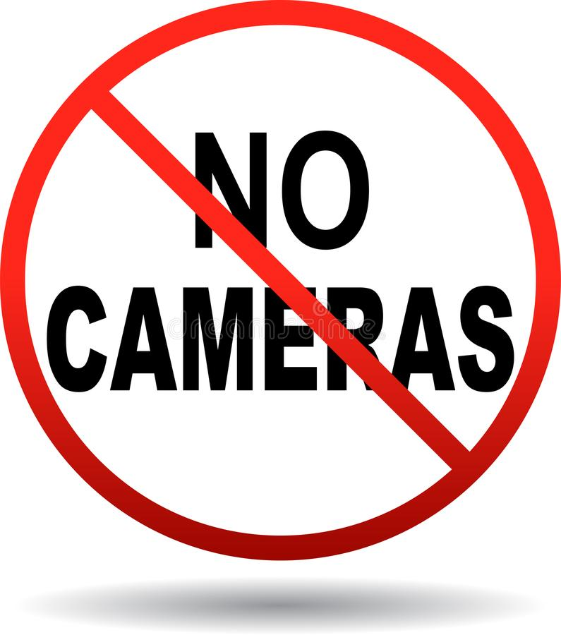 No cameras allowed sign stock illustration