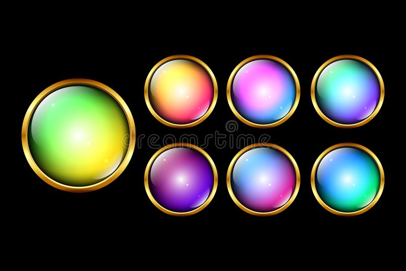 Vector round glossy web buttons set. Vector eps 10 round golden framed colorful glossy web buttons set stock illustration