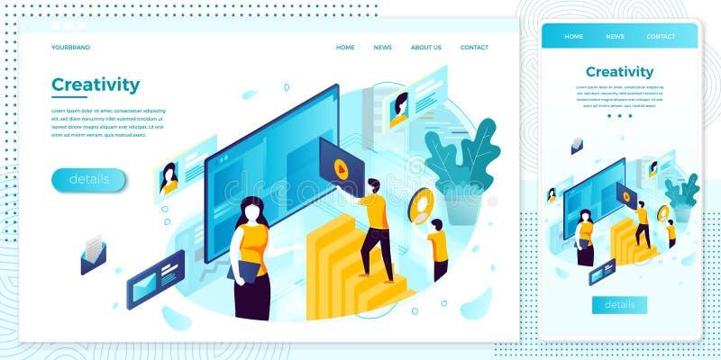 Vector eps site creation working process set. Vector cross platform illustration set, browser and mobile phone - site creation working process...Modern bright vector illustration
