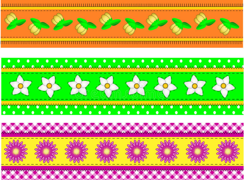 Download Vector EPS10 Three Flower Borders With Dots, Gingh Stock Photos - Image: 14888263