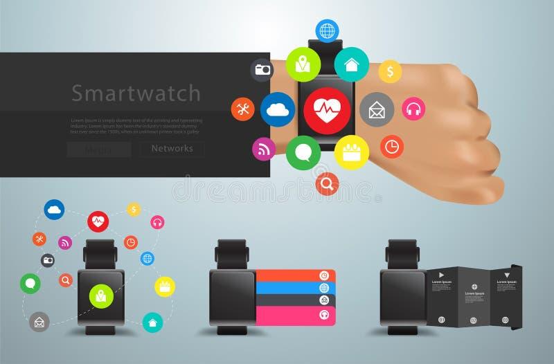 Vector equipo social de los iconos de la interfaz de usuario de las redes del smartwatch el medios stock de ilustración