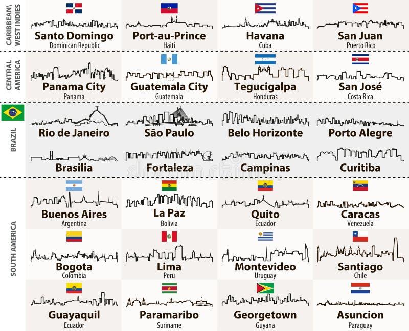 Vector esboços de skylines centrais e de Ámérica do Sul das cidades ilustração stock