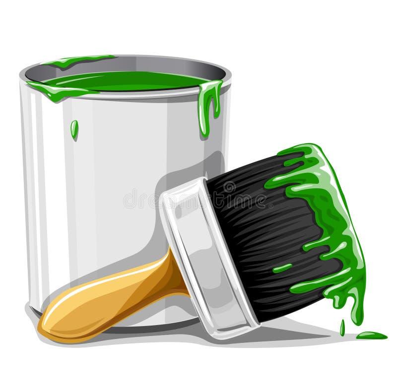 Vector a escova com pintura verde e a cubeta isoladas ilustração royalty free