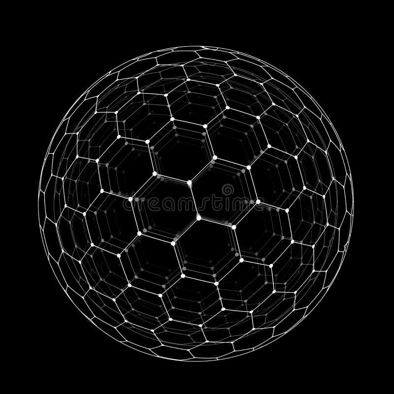 Vector a esfera sextavada do buckyball da grade isolada no fundo preto ilustração do vetor