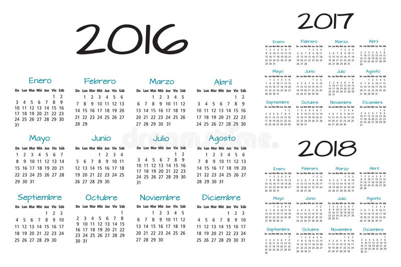 Vector español del calendario 2016-2017-2018 ilustración del vector