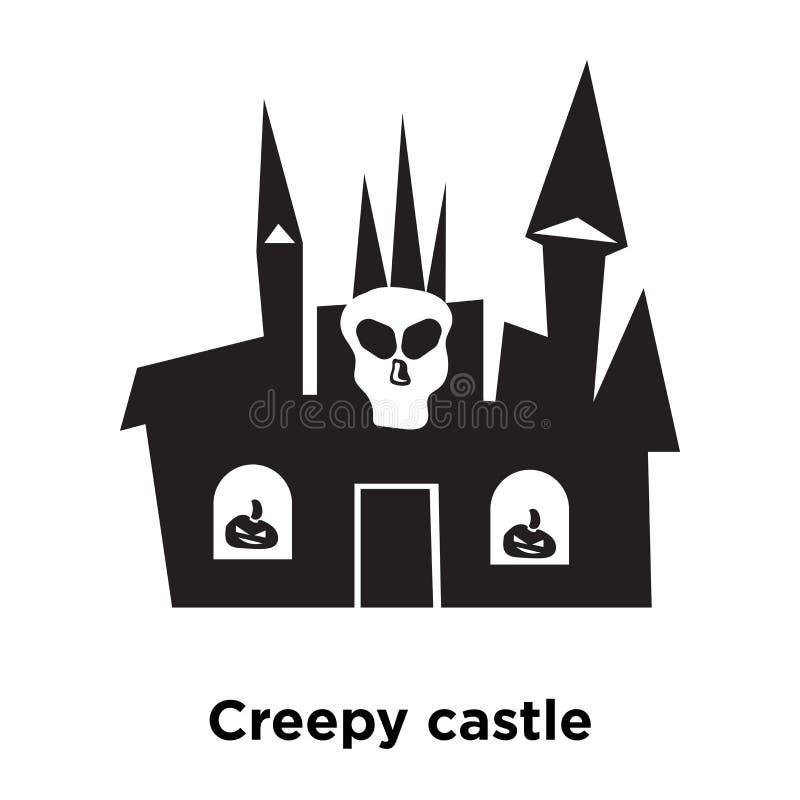 Vector espeluznante del icono del castillo aislado en el fondo blanco, estafa del logotipo stock de ilustración