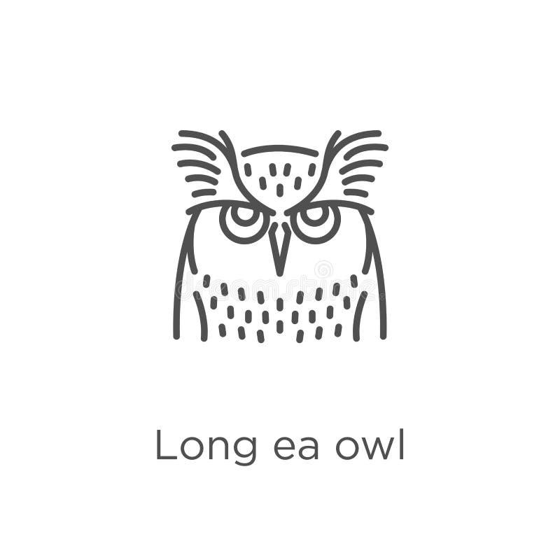 vector espigado largo del icono del búho de la colección del búho Línea fina ejemplo espigado largo del vector del icono del esqu ilustración del vector