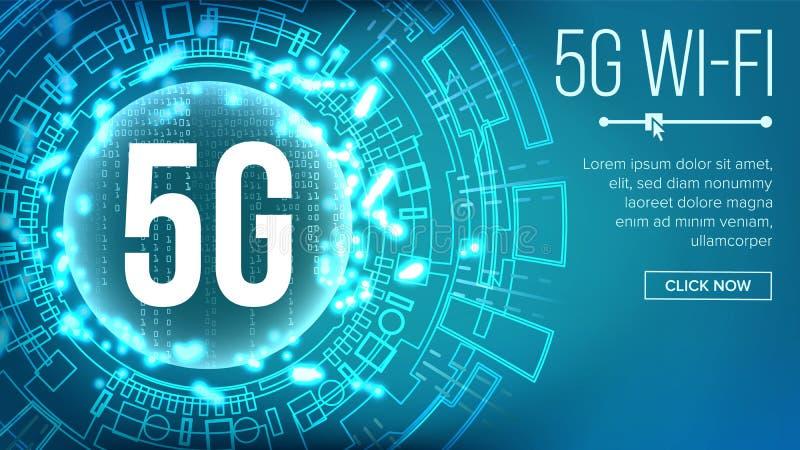 vector estándar del fondo del Wi-Fi 5G telecomunicación Red inalámbrica Conexión de Wi-Fi de Internet Tecnología futura stock de ilustración