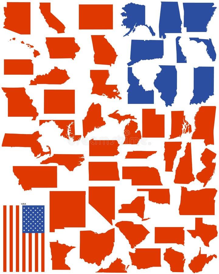 Vector estados de América ilustração stock