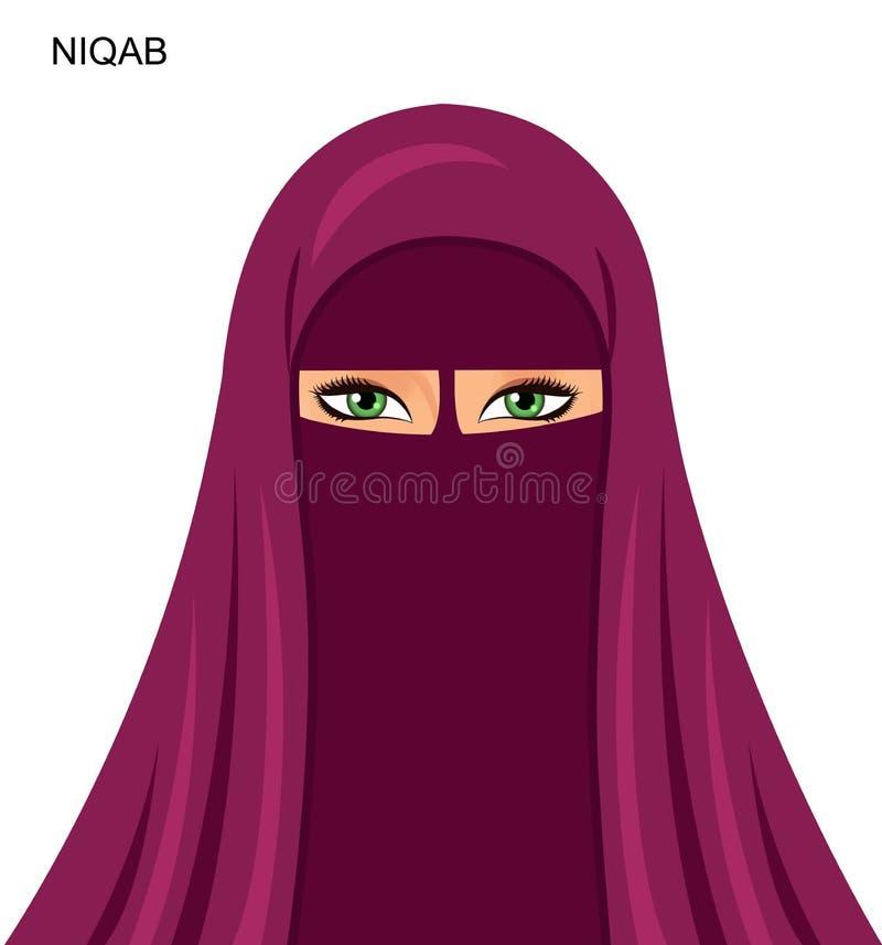 Vector - estilo árabe del niqab, mujer musulmán árabe hermosa - Illu libre illustration