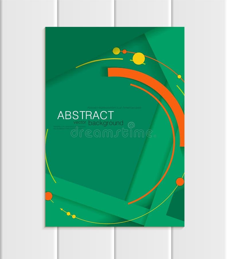 Vector estilo corporativo del elemento material del diseño del formato verde A5 o A4 del folleto stock de ilustración