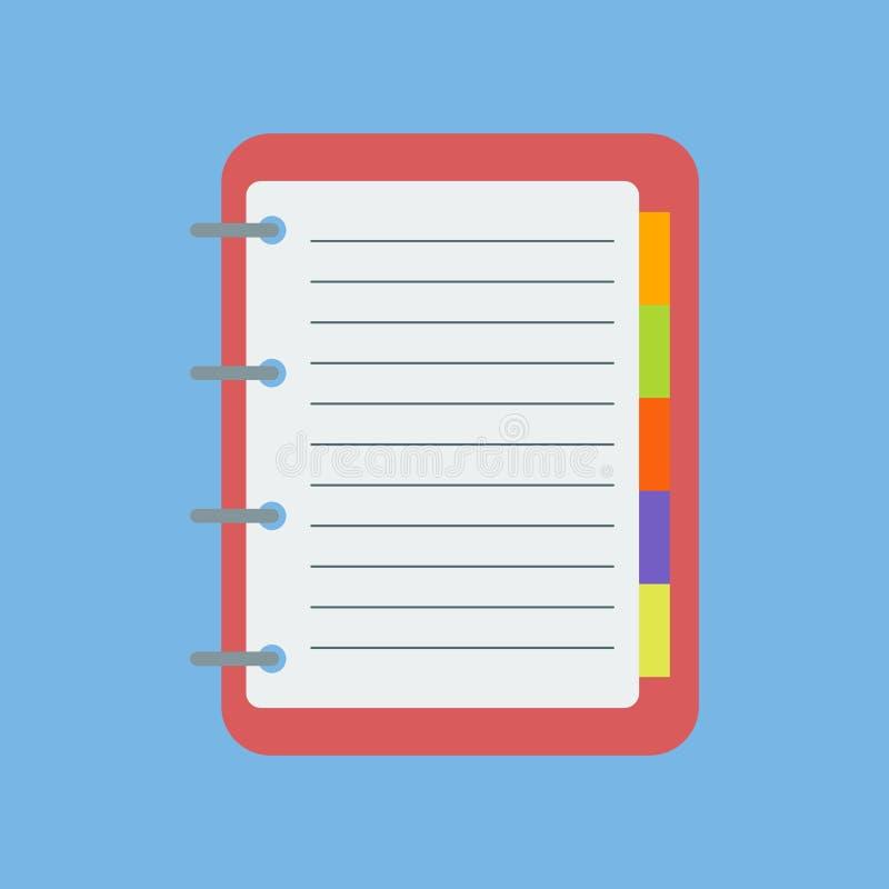 Vector Estilo plano icono de la libreta notas Imagen completamente editable stock de ilustración
