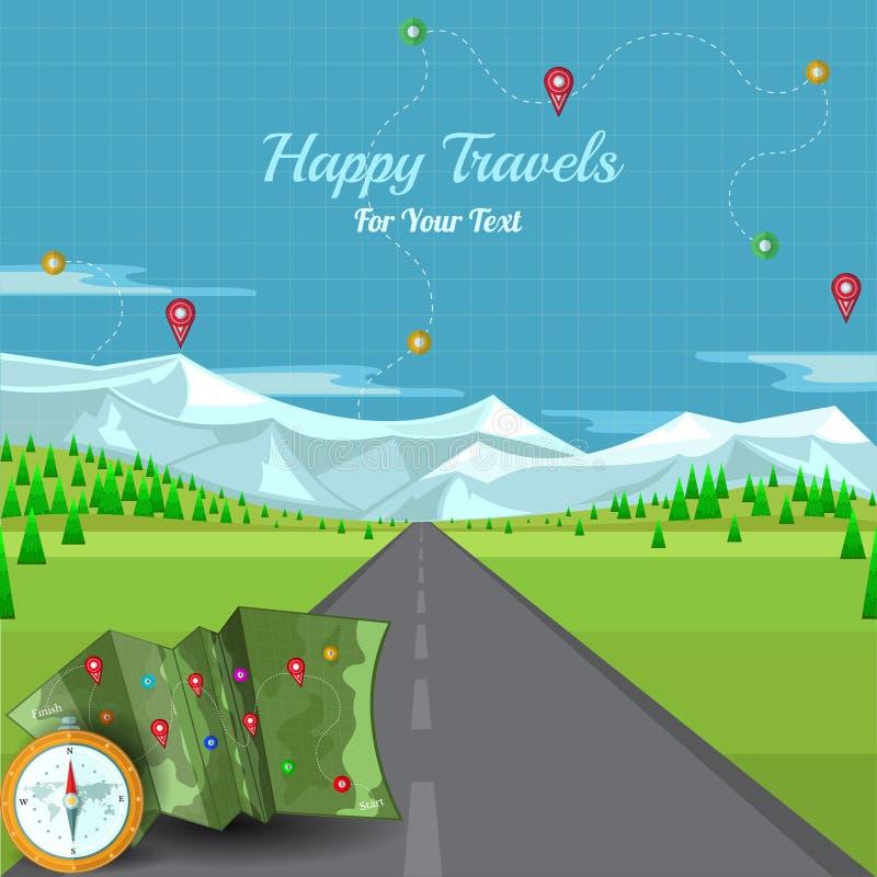 Vector a estrada que desaparece no horizonte com montanhas e pinos do mapa da paisagem e de compasso ilustração royalty free