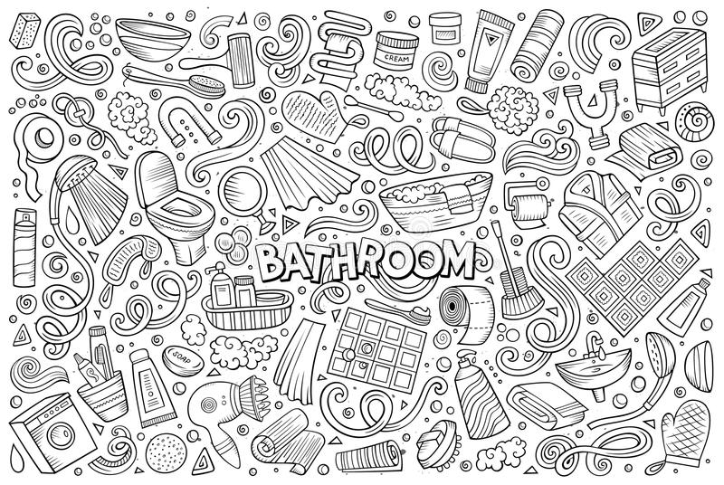 Vector et of Bathroom objects. Vector hand drawn line art doodle cartoon set of Bathroom objects and symbols