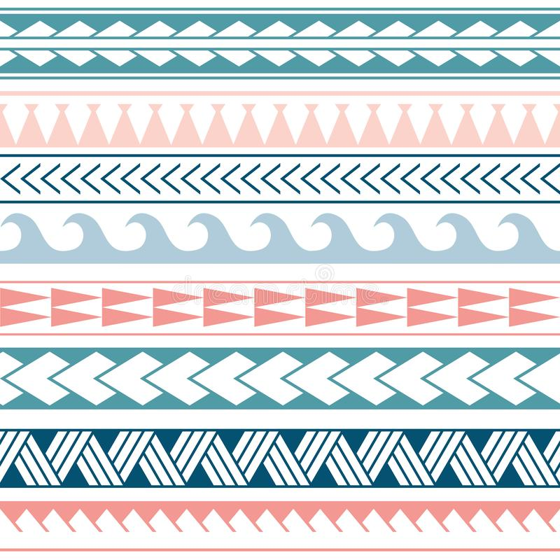 Vector ethnic boho seamless pattern in maori style. Geometric border with decorative ethnic elements. Pink and blue royalty free illustration