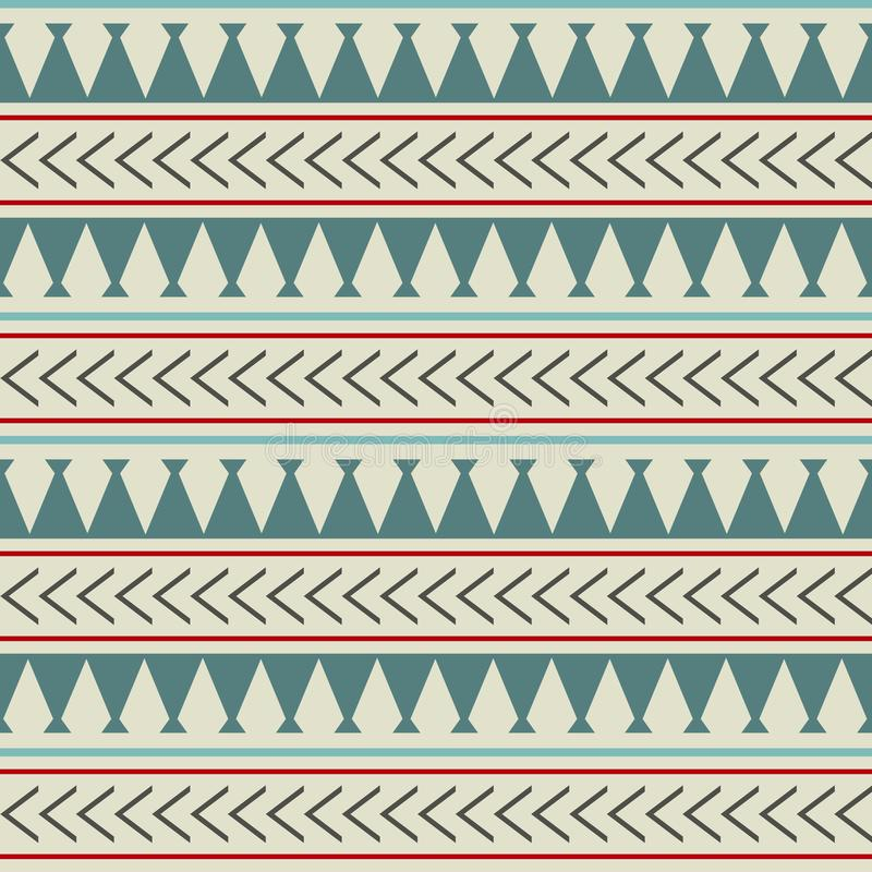 Vector ethnic boho seamless pattern in maori style. Geometric border with decorative ethnic elements. Scandinavian royalty free illustration
