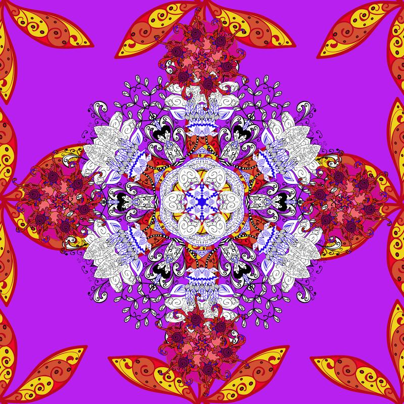 Vector ethnic mandalas, doodle background circles. Red, violet and white colors stock illustration