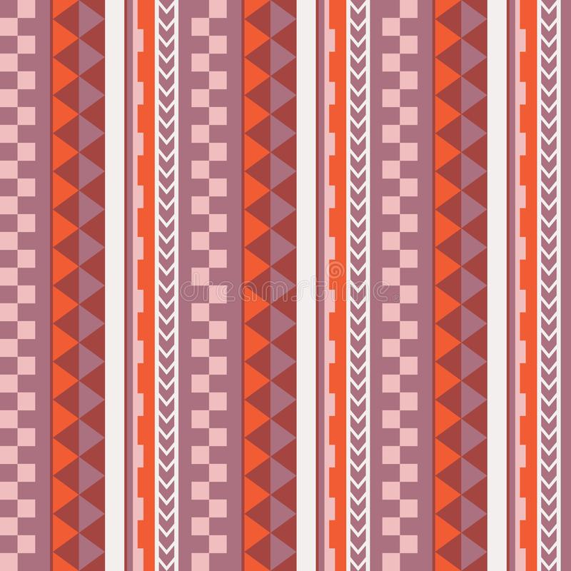 Vector ethnic seamless geometric simple pattern in maori tattoo style. Pink and orange. vector illustration